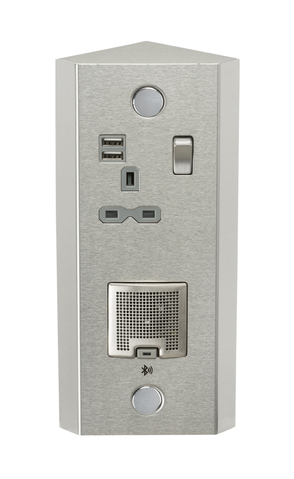 ML Accessories-SKR0013 13A 1G Vertical Switched Socket with Dual USB Charger (2.4A) and 3W RMS Bluetooth Speaker
