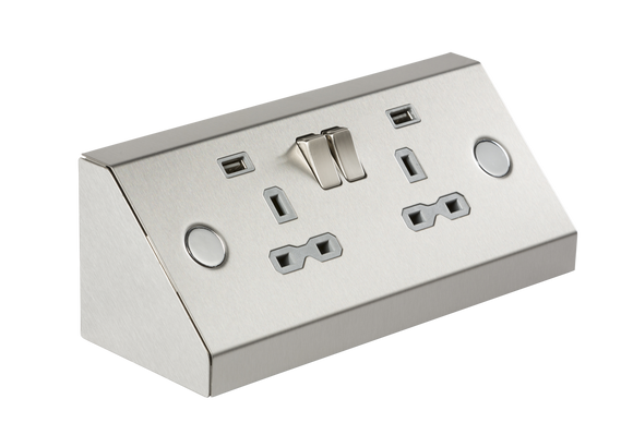ML Accessories-SKR009A 13A 2G Mounting Switched Socket with Dual USB Charger (2.4A) - Stainless Steel with grey insert