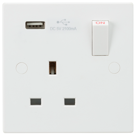 ML Accessories-SN9903 13A 1G Switched Socket with USB Charger 5V DC 2.1A