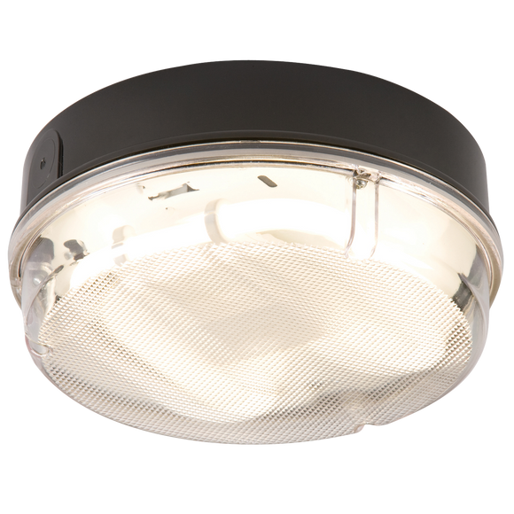 ML Accessories-TPR16BPHF IP65 16W HF Round Bulkhead with Prismatic Diffuser and Black Base