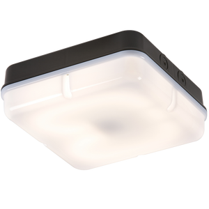 ML Accessories-TPS28BOHF IP65 28W HF Square Bulkhead comes with Opal Diffuser and Black Base