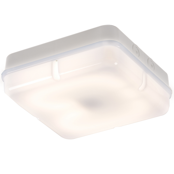 ML Accessories-TPS28WOHF IP65 28W HF Square Bulkhead with Opal Diffuser and White Base