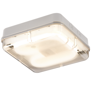 ML Accessories-TPS28WPEMHF IP65 28W HF Square Emergency Bulkhead with Prismatic Diffuser and White Base