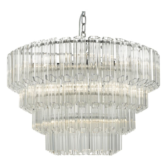 Tuvalu 9lt Pendant Glass & Polished Chrome