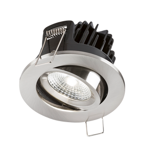 ML Accessories-VFRCOBCW3 IP20 7W LED 4000K Cool White Tilt Downlight with Fixed Brushed Chrome Bezel