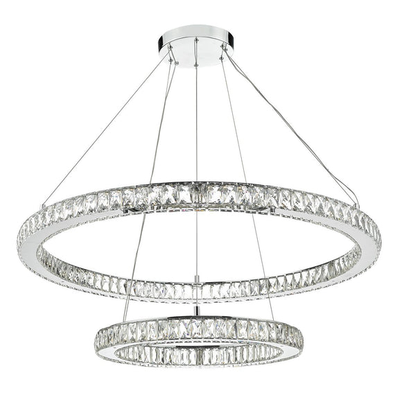 Wonder LED Pendant Double Hoop Crystal Faceted Rectangles Polished Chrome Frame