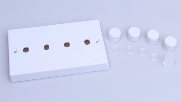 Varilight WQD4W White White Plastic 4-Gang Dimmer Kit Twin Plate