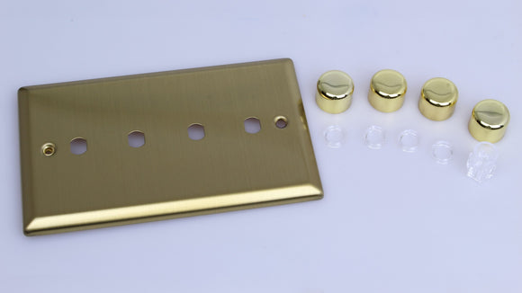 Varilight WYD4.BB Urban Vintage Brass 4-Gang Dimmer Kit Twin Plate