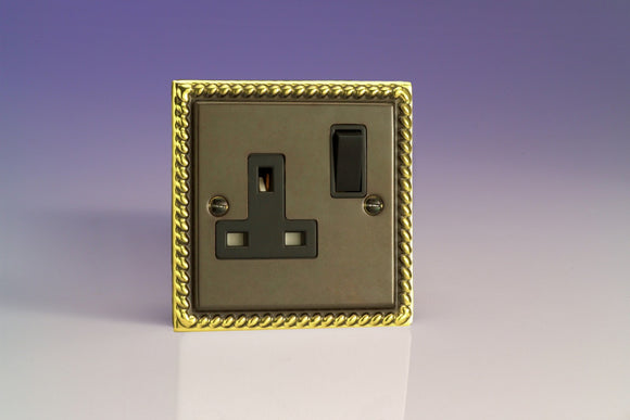 Varilight XA4B Classic Antique Georgian 1-Gang 13A Double Pole Switched Socket