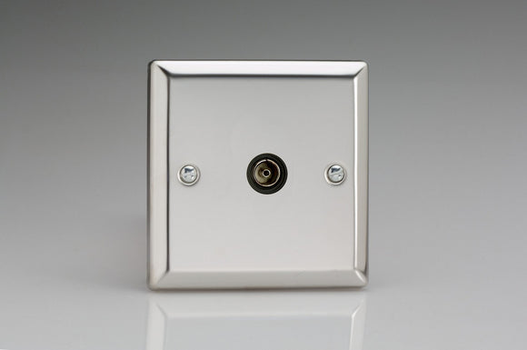 Varilight XC8ISOB Classic Mirror Chrome 1-Gang TV Socket, Isolated Co-axial