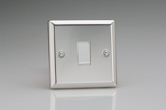 Varilight XCBPW Classic Mirror Chrome 1-Gang 10A Retractive Switch