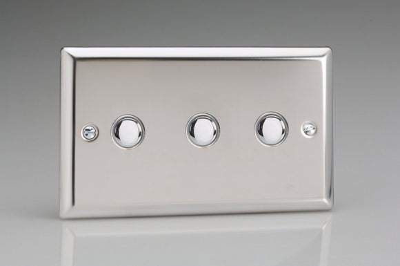 Varilight XCP3 Classic Mirror Chrome 3-Gang 6A 1- or 2-Way Push-On/Off Impulse Switch (Twin Plate)