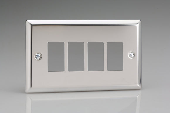 Varilight XCPGY4 PowerGrid Classic Mirror Chrome 4-Gang PowerGrid Plate including Yoke (Twin Plate)