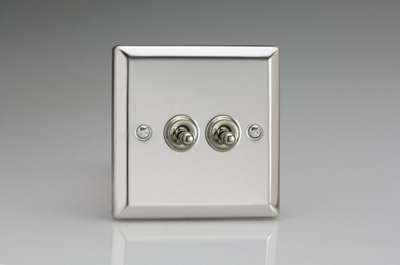 Varilight XCT2 Classic Mirror Chrome 2-Gang 10A 1- or 2-Way Toggle Switch
