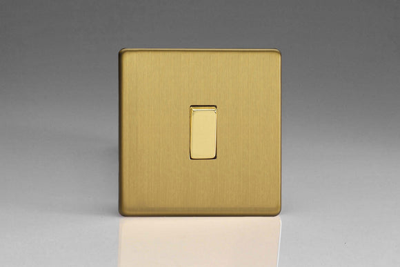 Varilight XDB1S Screwless Brushed Brass 1-Gang 10A 1- or 2-Way Rocker Switch