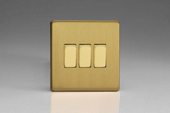 Varilight XDB3S Screwless Brushed Brass 3-Gang 10A 1- or 2-Way Rocker Switch
