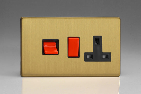 Varilight XDB45PBS Screwless Brushed Brass 45A Cooker Panel with 13A Double Pole Switched Socket Outlet (Red Rocker)