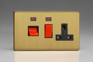 Varilight XDB45PNBS Screwless Brushed Brass 45A Cooker Panel + Neon with 13A Double Pole Switched Socket Outlet (Red Rocker)