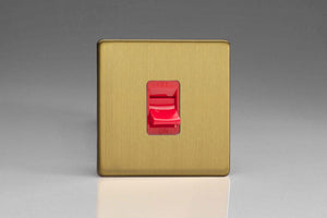 Varilight XDB45SS Screwless Brushed Brass 45A Cooker Switch (Single Plate, Red Rocker)