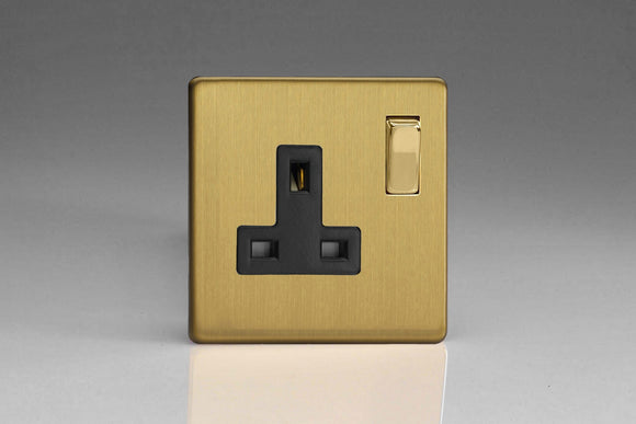 Varilight XDB4BS Screwless Brushed Brass 1-Gang 13A Double Pole Switched Socket with Metal Rockers