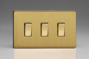 Varilight XDB93S Screwless Brushed Brass 3-Gang 10A 1- or 2-Way Rocker Switch (Twin Plate)