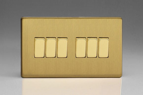 Varilight XDB96S Screwless Brushed Brass 6-Gang 10A 1- or 2-Way Rocker Switch (Twin Plate)