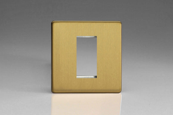 Varilight XDBG1S Screwless Brushed Brass DataGrid Plate (1 Grid Space)