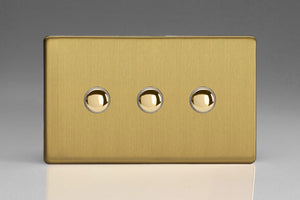 Varilight XDBP3S Screwless Brushed Brass 3-Gang 6A 1- or 2-Way Push-On/Off Impulse Switch (Twin Plate)