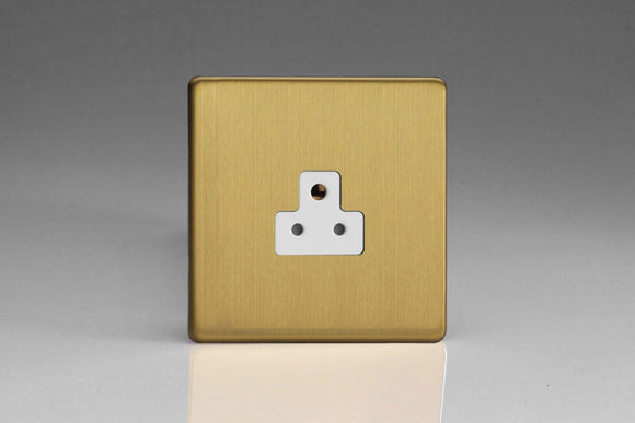 Varilight XDBRP2AWS Screwless Brushed Brass 1-Gang 2A Round Pin Socket