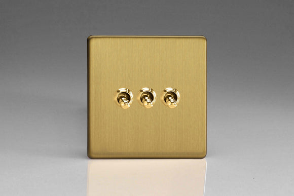 Varilight XDBT3S Screwless Brushed Brass 3-Gang 10A 1- or 2-Way Toggle Switch