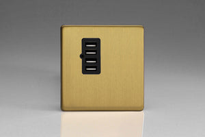 Varilight XDBU4BS Screwless Brushed Brass 4 Gang 5V DC 4800mA USB Charging Port (Single Plate)