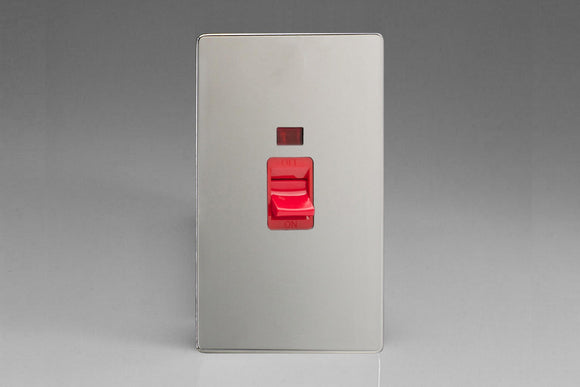 Varilight XDC45NS Screwless Polished Chrome 45A Cooker Switch + Neon (Vertical Twin Plate, Red Rocker)