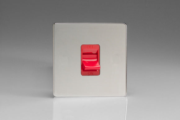 Varilight XDC45SS Screwless Polished Chrome 45A Cooker Switch (Single Plate, Red Rocker)