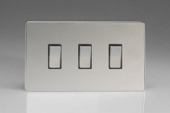 Varilight XDC93S Screwless Polished Chrome 3-Gang 10A 1- or 2-Way Rocker Switch (Twin Plate)