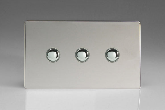 Varilight XDCP3S Screwless Polished Chrome 3-Gang 6A 1- or 2-Way Push-On/Off Impulse Switch (Twin Plate)