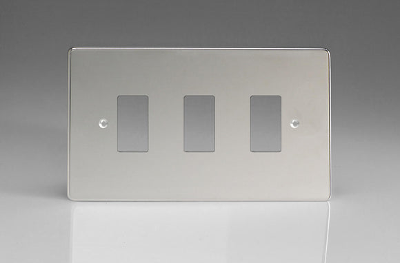 Varilight XDCPG3 PowerGrid Polished Chrome 3-Gang Grid Plate (Twin Plate)