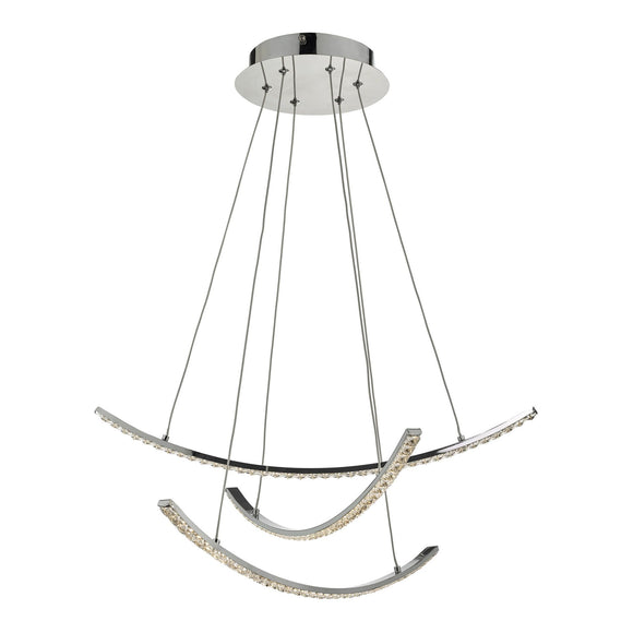 Zancara 3 Light Pendant Polished Chrome & Crystal LED
