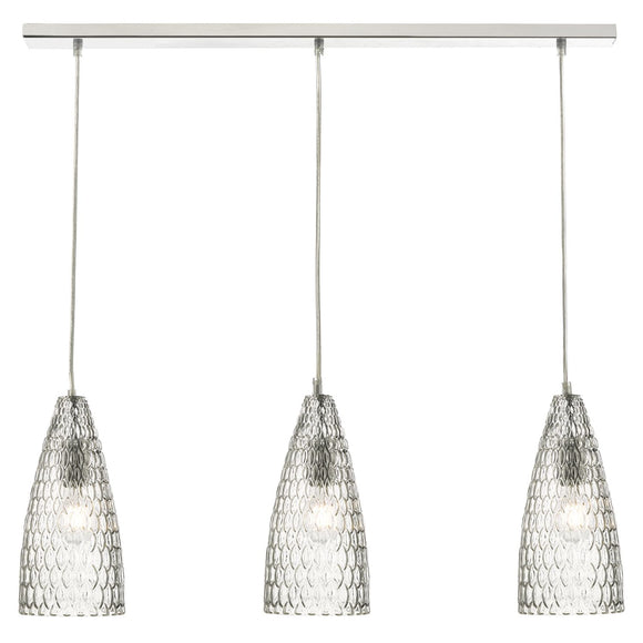 Zuka 3lt Bar Pendant Polished Chrome & Textured Glass