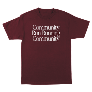 KRC COMMUNITY RUN T-SHIRT IN BURGUNDY