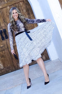 Fit and Flare Texture Dress - Taupe