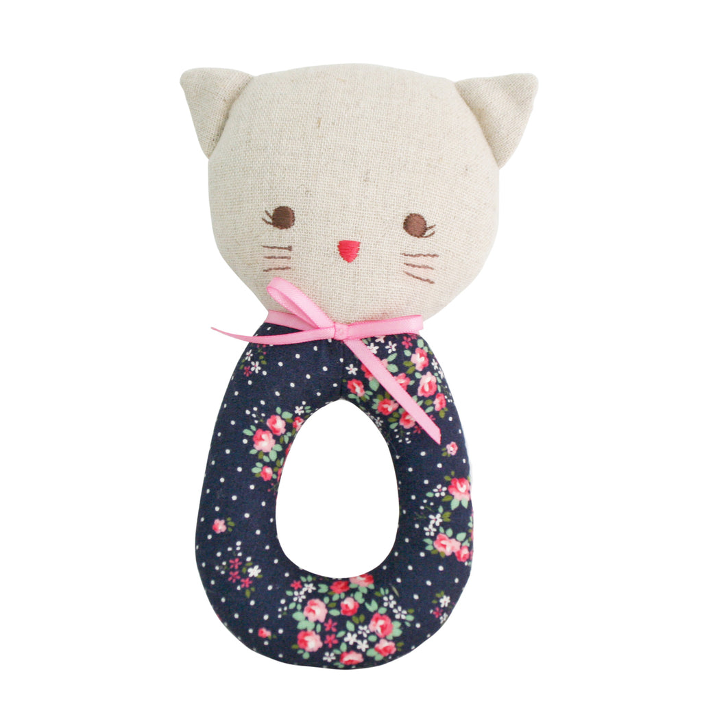 Kitty Grab Rattle - Midnight Floral