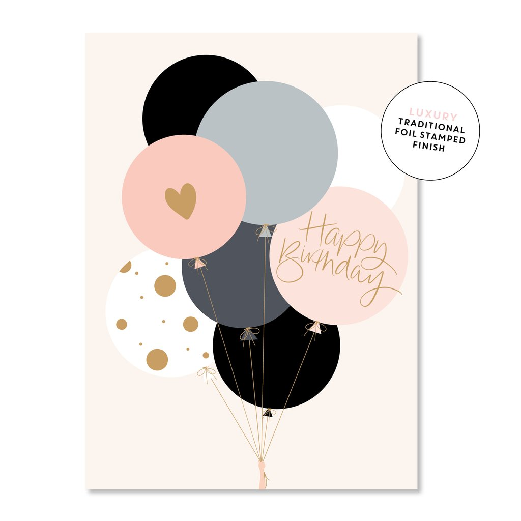Happy Birthday Pink Balloons Card