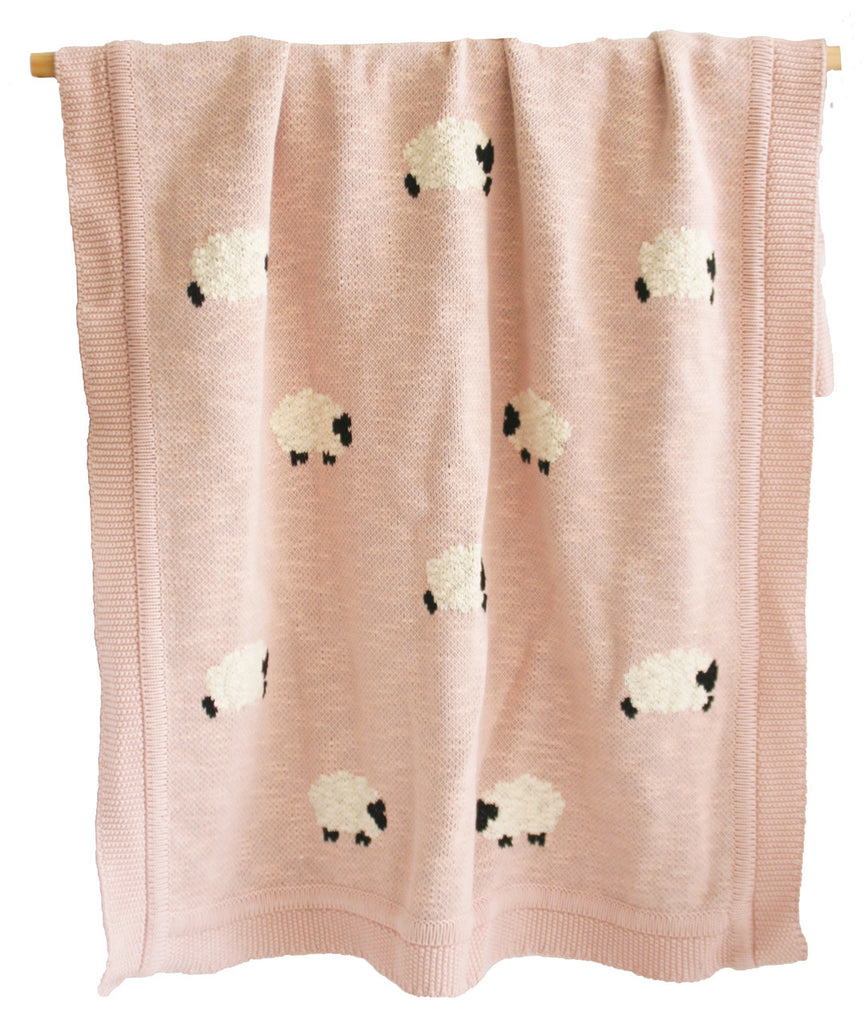 Baa Baa Blanket - Organic Cotton - Dusty Pink