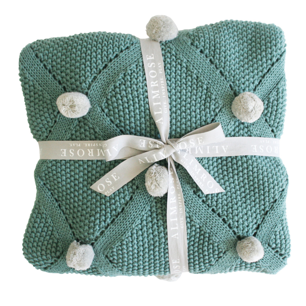 Pom Pom Blanket - Organic Cotton - Sage & Grey