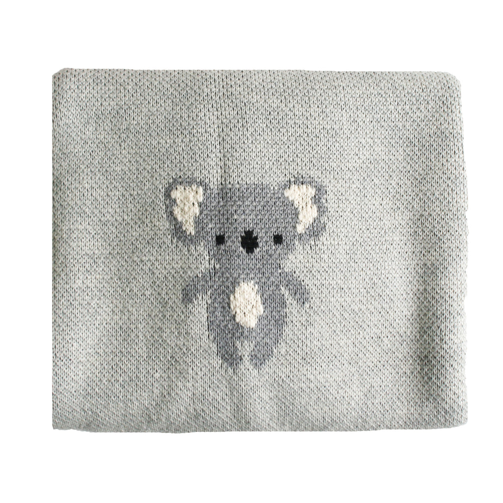 Koala Baby Blanket - Organic Cotton - Grey