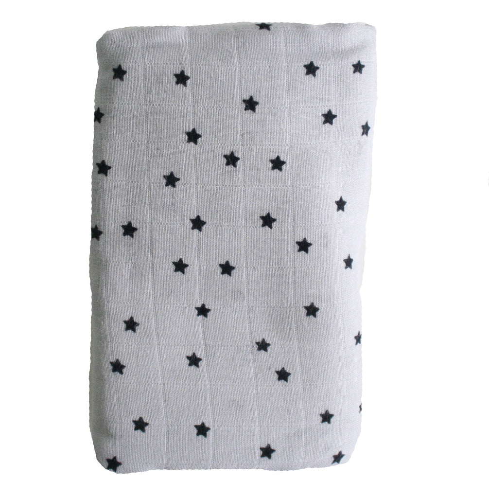 Muslin Swaddle - Starry Night Grey