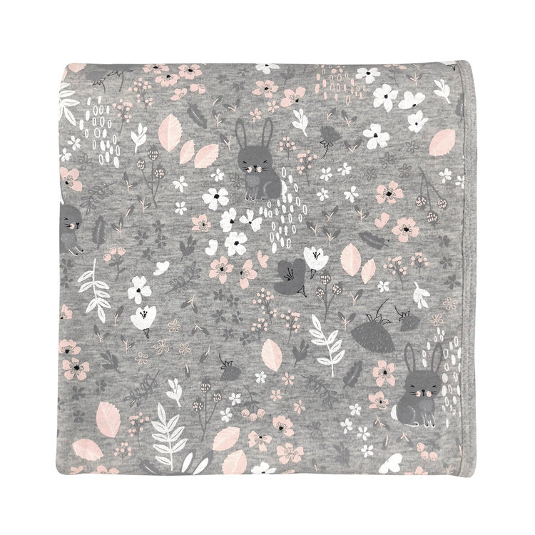 Grey Bunny Floral Everything Blanket