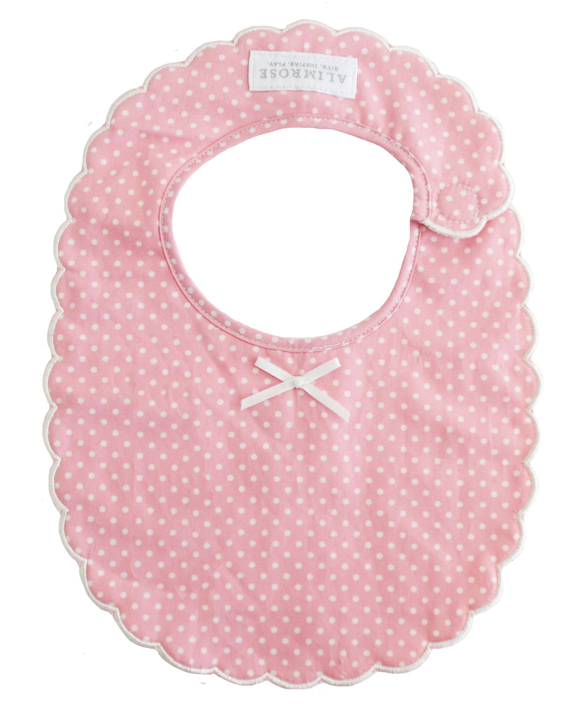 Scallop Edge Bib - Pink with Ivory Spots