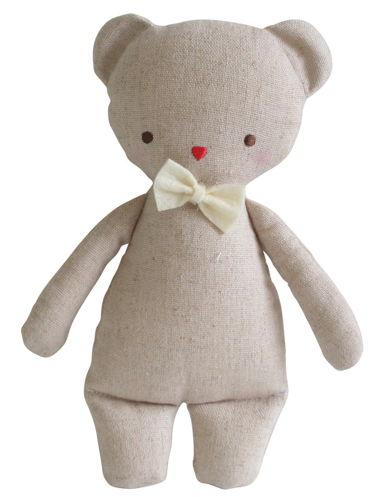 Linen Mini Rattle - Bear