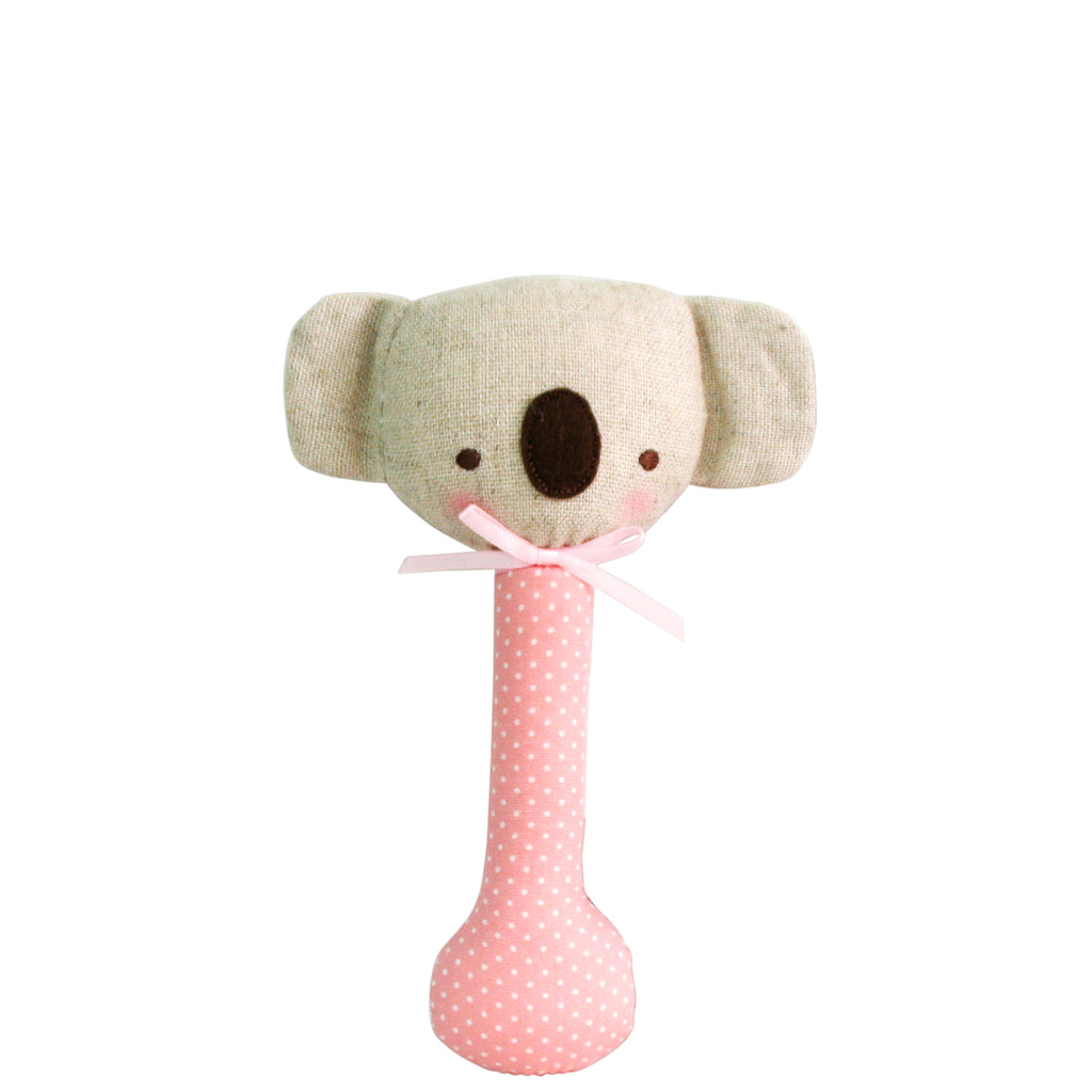 Baby Koala Rattle - Pink with White Spot